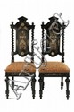 PAIR COURT CHAIRS - Pair of Outstanding Italian Court Chairs, mid 19th c, in ebonized hardwood with ivory and copper classical themed i