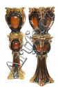 PAIR LARGE ENTRYWAY  MAJOLICA JARDINIERES - Art Nouveau Jardinieres set atop pedestals w/ sphere set above tapered base, 54 3/4