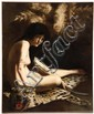 OOC - 'Salome', depicting the lovely young woman seated nude on a leopard skin, illegibly signed lr 'J.R. Fran ----- ', circa 1880-