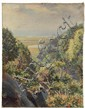 OOC - Beaches Viewed from Wooded Hills by Helena Sturtevant (Newport, RI, 1872-1946), signed verso, unframed, SS: 36