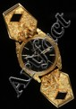 GENT'S WATCH - One custom gold nugget cased Seiko quartz day date wristwatch with black dial and sweep second hand, #015836 water resi