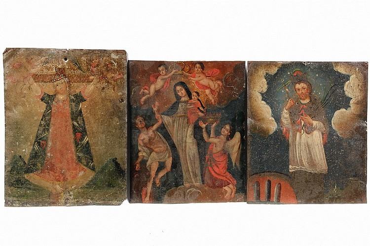 (6) OIL ON TIN RETABLOS - Mexican Retablos or Ex Votos, depicting the Holy Mother or various saints, ranging in age from early 19th - e