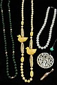 (5 PC) JEWELRY LOT - (4) Vintage Jade Necklaces: 1) Yellow Jade w/ Duck, 32