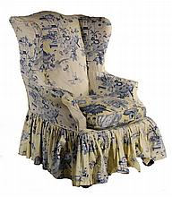 WINGCHAIR - 1920s Custom Ball & Claw Foot Chippendale Style Wingchair with a Waverly slipcover. 45