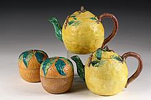 (4) PCS FRUIT FORM POTTERY - (2) Japanese Lemon Form Tea Pots marked 'Made in Japan' & (2) English Orange Marmalade Jars with registr