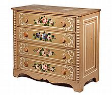 PAINTED COTTAGE DRESSER - 19th c. Maine Made 4 Drawer Pine Chest in grey-green with white pinstriping & scrollwork, floral spray on eac