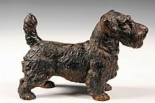 CAST IRON DOG DOOR STOP - Heavy Figural Solid Cast Iron Terrier Door Stop in the form of a Scottie Dog, in black enamel paint, early 20