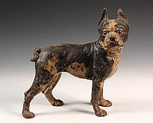 FIGURAL CAST IRON DOORSTOP - Standing Boston Bulldog Door Stop in black & white painted cast iron, unmarked, circa 1900. 10