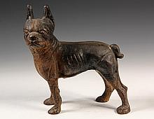 FIGURAL CAST IRON DOORSTOP - Fully Dimensional Standing Boston Terrier Dog in remnants of black and white paint, unmarked, circa 1910.