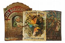 (3) TIN TRADE SIGNS - 1890s Tin Litho Signs: Diamond Dye Maypole & Prism Ages of Life by Kellogg & Bulkeley, 21 1/2