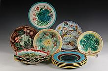 (14 PCS) MAJOLICA - Including: (4) Embossed Scenic Plates; (3) Floral Plates; (2) Raspberry Plates; (1) Bird Plate; (1) Leaf Plate & (3