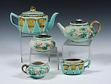 (5 PCS) MAJOLICA - (2) Tea Services, including: Basketweave and Flower Tea Pot, Sugar & Creamer; PLUS Fan & Crane Tea Pot & Creamer. 2