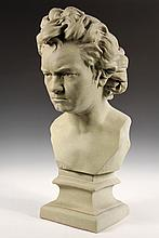 LARGE PLASTER BUST - Painted Plaster Bust of Beethoven after the original by Hagen, on integral plinth. 26