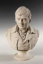 LARGE PLASTER BUST - Late 19th c. Bust of the poet Robert Burns, on integral plinth. 19