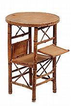 SCORCHED BAMBOO STAND - Round Seagrass Top Table with lower shelf and two folding side shelves. Circa 1900. 27