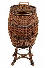WICKER & SEAGRASS YARN BASKET - Barrel Form Lidded Baskete on legs, in seagrass ribbon woven into a wicker frame. Rare form. 31 1/2