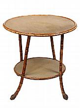 ROUND BAMBOO TABLE - Scorched Bamboo Stand with lower shelf, having woven & painted seagrass covering, the legs ending in root balls. C