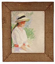 OIL ON UPSON BOARD - Portrait of Girl in Summer Hat, rendered in knifework, unsigned on front, marked