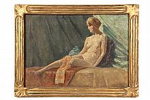 OIL ON CANVAS BOARD - Study of Nude Woman on Divan, signed