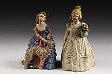 (2) PLASTER DOORSTOPS - Southern Belle with Flowers, circa 1920s, 11 1/2