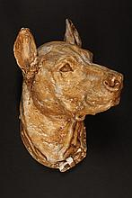 WALL MOUNT DOG BUST - 1920s Painted Plaster Wall Hanging Bust of a Great Dane with collar, unmarked. 17