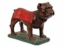 PLASTER DOG FIGURE - Painted Plaster Standing Bulldog in Tabard, possibly meant to be the Harvard mascot. 11 1/2
