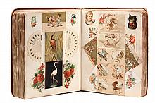 VICTORIAN TRADE CARD ALBUM - Cloth Bound Decorated Album containing 102 well-ordered pages of trade cards, pasted to both sides of each