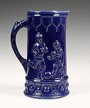 MAJOLICA PITCHER - Rare American Blue Glaze Milk Pitcher depicting Boys Playing Baseball & Soccer. Unmarked. 7 1/2