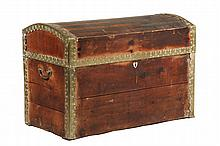 BARREL TOP TRUNK - 19th c. Brass Bound Trunk with alternating hardwood slats on lid, scalloped brass corner edging, drop handles on sid