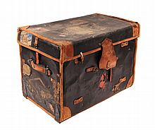 COACHING TRUNK - 19th c. English Trunk in leather & oil cloth covered rattan, with linen liner, lift-out trays, 'ET-USA' monogram, ve