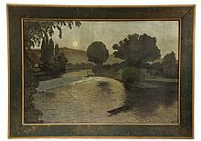 OIL ON CANVAS, LAID TO BOARD - Arts & Crafts Period Landscape with man in canoe on mill pond under moonlight, unsigned, circa 1910, Bos