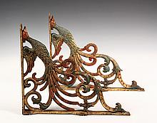 PAIR OF CAST IRON SHELF BRACKETS - 19th c. Brackets in the form of Phoenix Birds, having gilt & polychrome finish. 14 1/2