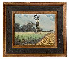 OIL ON BOARD - Plains Farm Windmill signed