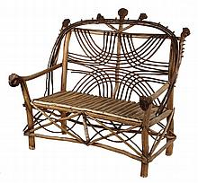 ADIRONDACK SETTEE - Natural Indian Club & Bent Twig Settee for Two, with ornate back and skirt, split branch seat, root ball back and a