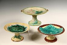 (3) MAJOLICA COMPOTES - 19th c. Continental Leaf Pattern Compotes or Footed Tazzas, in tin glazes, yellow, brown & green. 4 1/2