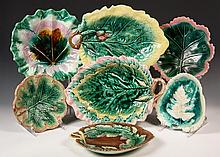 (7) MAJOLICA LEAF SHAPED DISHES - Various sizes, designs and glazes. 19th c. 7