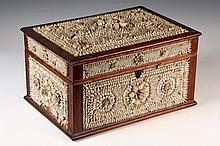 FOLK ART SHELL BOX - Victorian Shell Encrusted Box with mahogany frame, overall repeating designs of raised circles within squares, mol