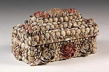 FOLK ART SHELL BOX - Victorian Shell Encrusted Box with lift-off lid, coffined top with dimensional rose blossoms on top and sides, pro