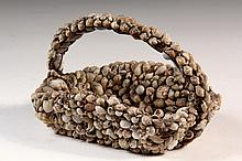 FOLK ART SHELL BASKET - 19th c. Shell Encrusted Bride's Basket, completely encrusted in small seashells, with brass maple leaf set int