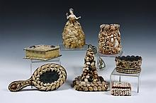 (7 PCS) SHELL ART - 19th c. Sailor Made Folk Art, including: Oval hand Mirror; Oval Pin Cushion; Diamond Shaped Box; Shell Lamp (Porcel