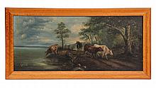 OIL ON CANVAS - Four Cows Walk a Lakeside Road, unsigned, circa 1880. In bird's-eye maple ogee frame. SS: 14 1/4