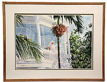 WATERCOLOR - Woman on Tropic Veranda by William R. Cantwell (PA/FL, 1947 - ), signed lower left and dated '89. In teak box frame, matt