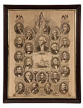 FRAMED PRESIDENTIAL PRINT - Presidents of the United States from George Washington to Grover Cleveland, presented by the Publishers of