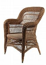 WICKER ARMCHAIR - Wakefield, no label, circa 1875, in dark brown paint, Bar Harbor style, medium back with continuous roll arm, basketw