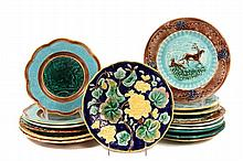 (16) ASSORTED MAJOLICA PLATES - All 19th c, various patterns, 8 1/2