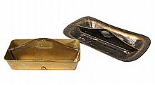 (2) FLATWARE CARRIERS - 19th c. Two Compartment Carriers, one in tole painted tin, the other in brass, both with central partitions hav
