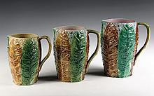 SET (3) PITCHERS - Graduated Tobacco Leaf Majolica Pitchers, unmarked, American. 6 1/2