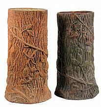 PAIR OF POTTERY UMBRELLA STANDS - Victorian Terra Cotta Tree Trunk Form Umbrella Stands in moss green paint. 20