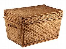 WOVEN RATTAN TRUNK - Late 19th c. English Rattan Trunk for summer storage, of the type used on the subcontinent. 18