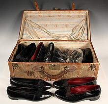 STRAW SUITCASE FULL OF ENGLISH SHOES - Late 19th c. Suitcase containing seven pair of English Patent Leather Gentleman's Court Pumps o